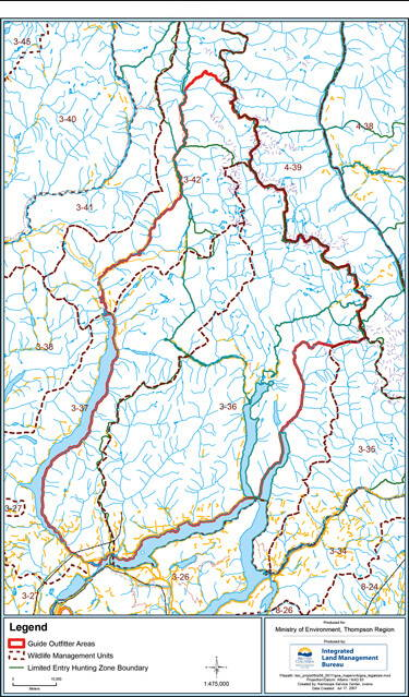Adams Lake Outfitting Territory Map